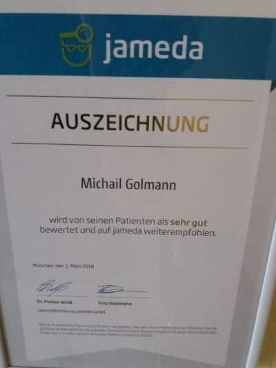 Zahnarzt Golmann in Krefeld wurde von Jameda als sehr gut ausgezeichnet